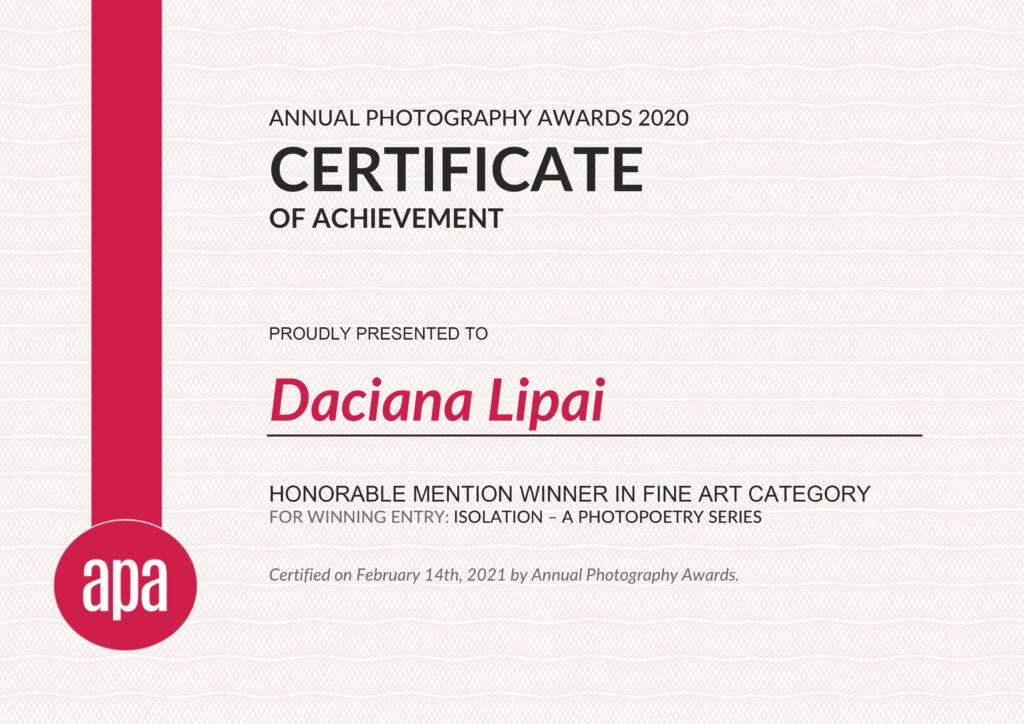 Daciana Lipai Isolation APA AWARDS 2021 Certificate